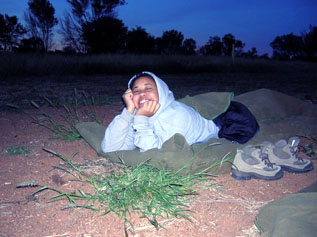 In the outback, Revoal slept in a swag under the stars.